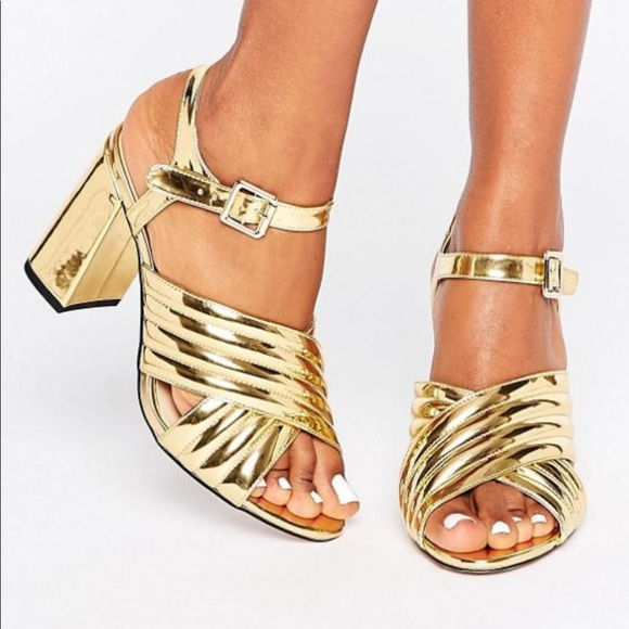 c1939799a3 ASOS Shoes | River Island Gold Metallic Heeled Sandals | Poshmark